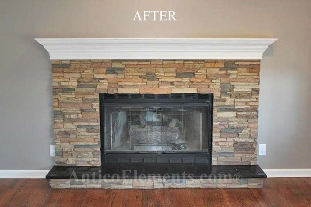 After photo. Remodeling a fireplace with faux stone is today easier than ever. A few panels