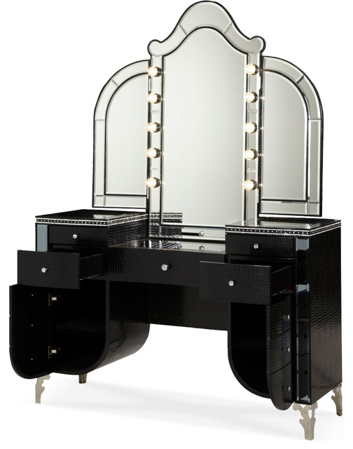 Aico hollywood swank upholstered vanity and mirror black for Bedroom furniture vanity