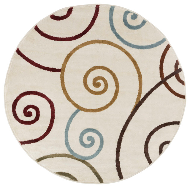 Round Area Rug 5 Foot Stain Resistant Circle By Lavish Home Multicolor