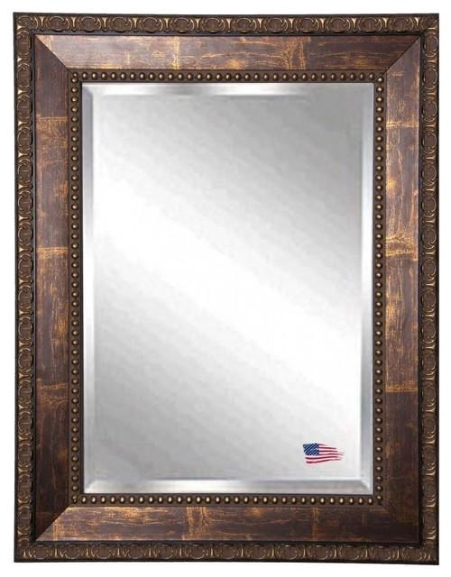 Bronze Wall Mirror american made roman copper bronze beveled wall mirror