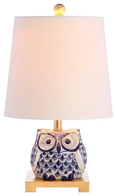 """Justina 16"""" Ceramic Mini Table Lamp, Blue/white."""