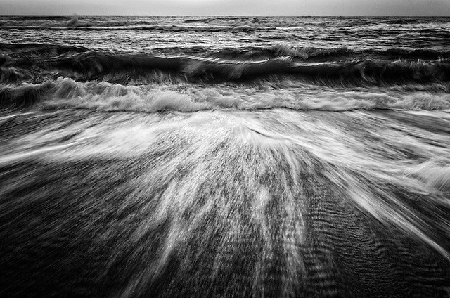 """washing Out To Sea Black And White"" Nature Photo, Coastal Wall Art 24""x36""."