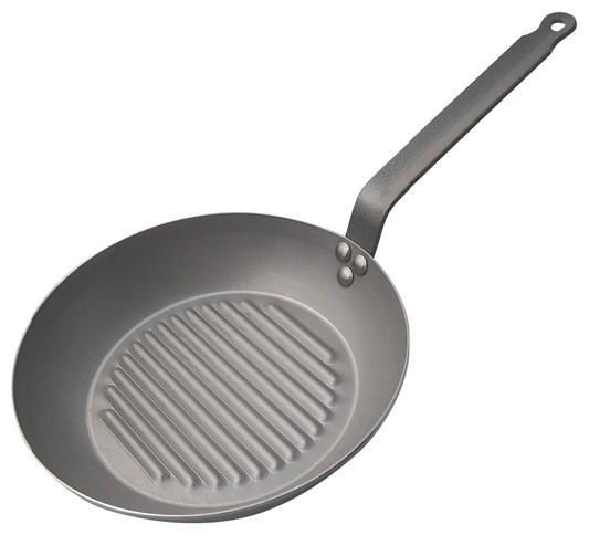 "De Buyer Mineral B Element Round Grilling Pan, 10.25""."