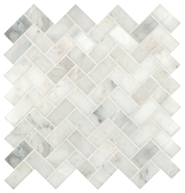 12 Quot X12 Quot Grayish White Herringbone Pattern Honed Marble