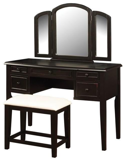 Peachy Vanity Table Set In Antique Black Finish Ibusinesslaw Wood Chair Design Ideas Ibusinesslaworg