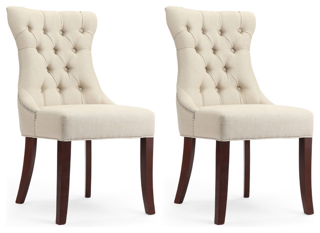 Dorchester Natural Linen Tufted Dining Chairs With Nailhead Trim Set Of 2