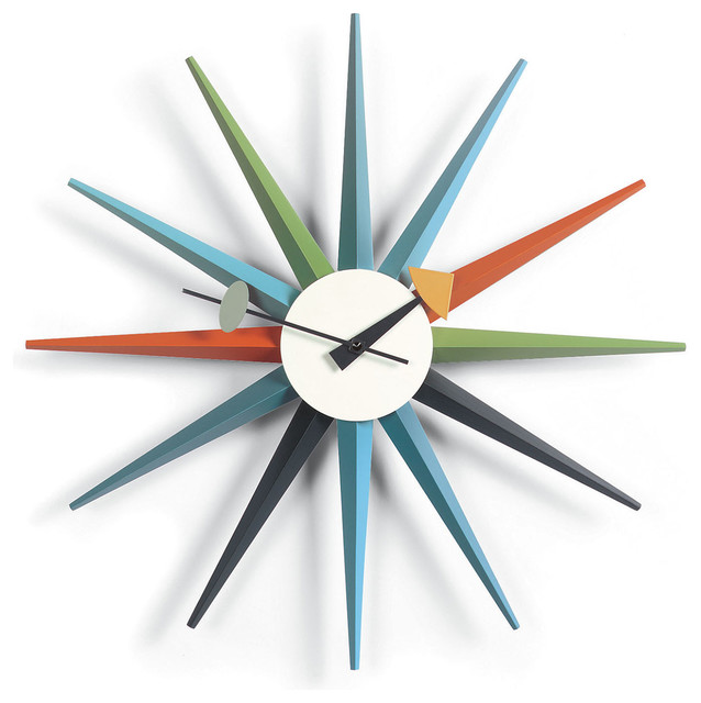 midcentury modern sunburst wall clock multicolor