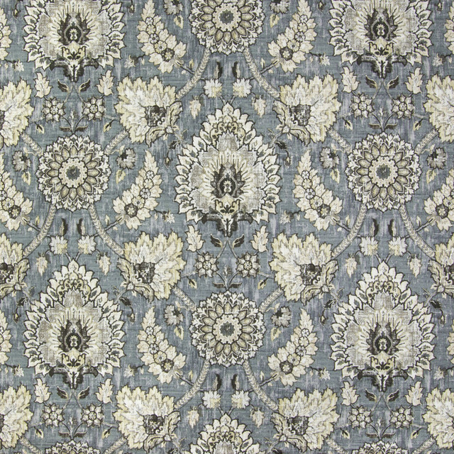 Flax Medallion Scroll Floral Southwest Print Linen Upholstery Fabric Contem