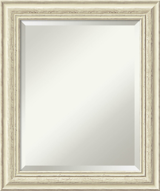 "Bathroom Mirror Medium, Country Whitewash, 21""x25""."