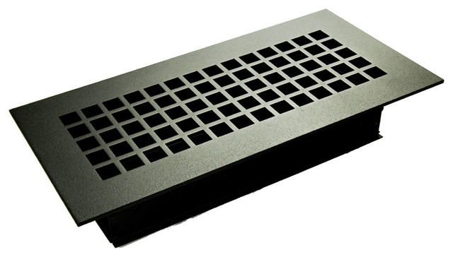 """Square Solid Steel Supply Vent, Black, 10""""x4"""" Supply."""