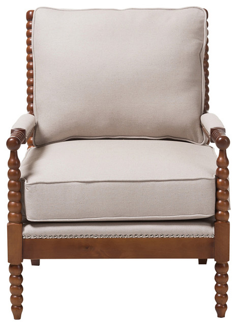 Baxton Studio Beaumont Spindle Lounge Chair Walnut Brow