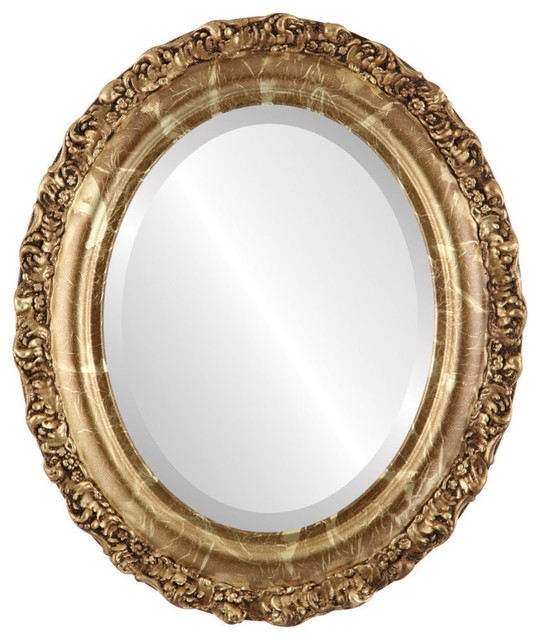 """Venice Framed Oval Mirror In Champagne Gold, 25""""x29"""". -1"""