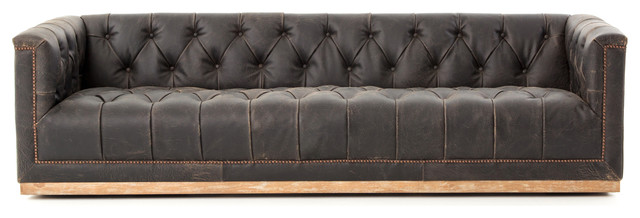 Terrific Maxx Distressed Black Leather Tufted Sofa Caraccident5 Cool Chair Designs And Ideas Caraccident5Info