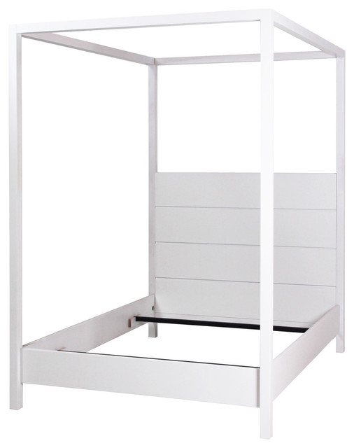 Four Poster Bed with Canopy, White, King