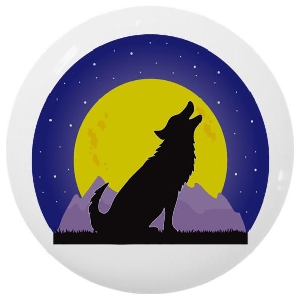 HOWLING WOLF CERAMIC KNOB DRAWER CABINET PULL