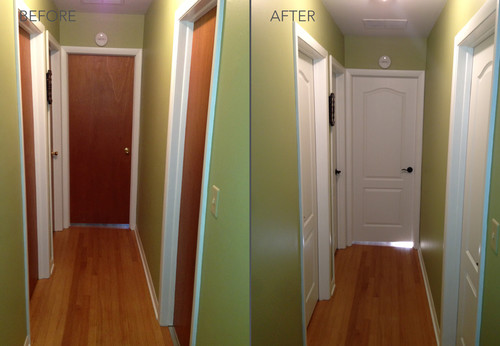 These before and after hallway photos show how new interior doors can completely transform an entire home. Beautiful jobs by our HomeStory Door locations in ... & New interior doors can completely transform a home.