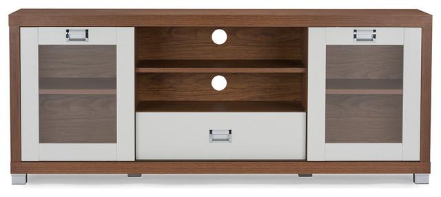 Matlock Modern 2-Tone Walnut and White TV Stand With Glass Doors ...