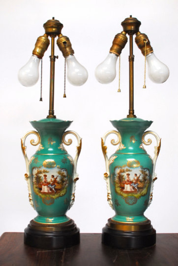 Pair Of Antique French Porcelain Lamps Table Lamps