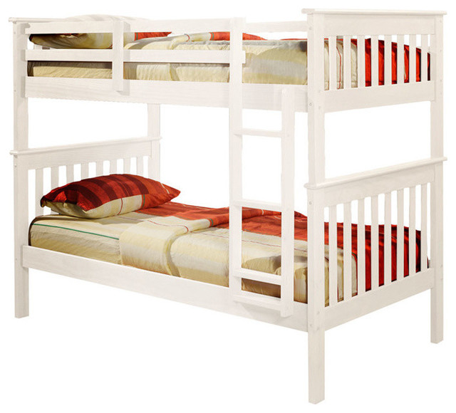 Nebula Bunk Bed With Ladder & 2 Underbed  Storage Drawers, White, Twin Over Twin.