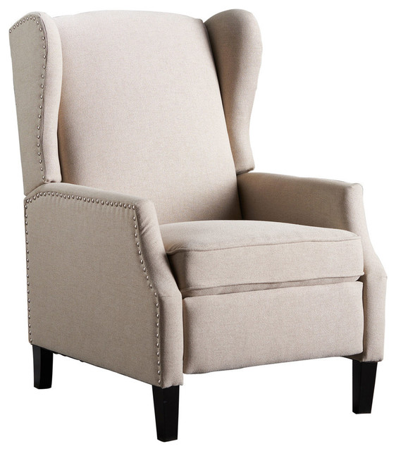 GDF Studio Westeros Traditional Wingback Fabric Recliner Chair, Wheat by GDFStudio
