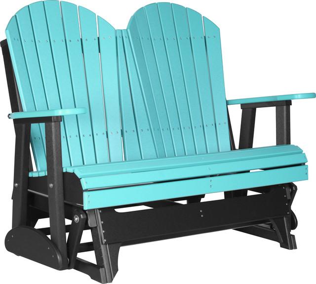 4u0027 poly adirondack glider bench aruba blue and black gliders - Glider Bench