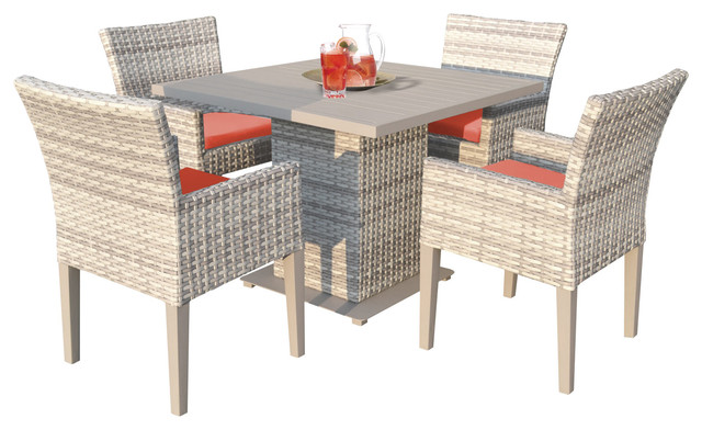 New Haven Square Dining Table With Arm Chairs, 5-Piece Set, Tangerine.
