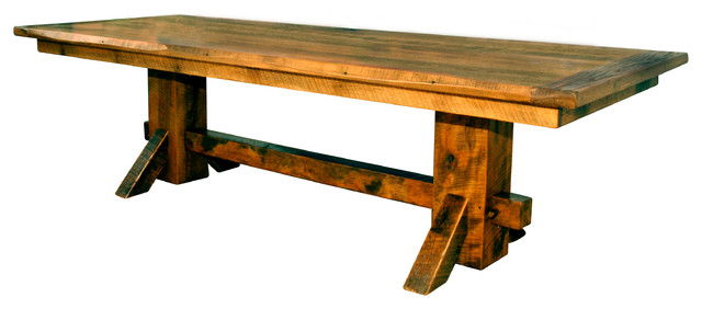 Rustic Barn Wood Double Pedestal 8 Dining Table