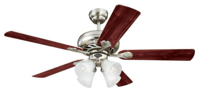 Westinghouse 78521-6548 Five Blade Ceiling Fan, 52, Swirl Brushed Nickel.