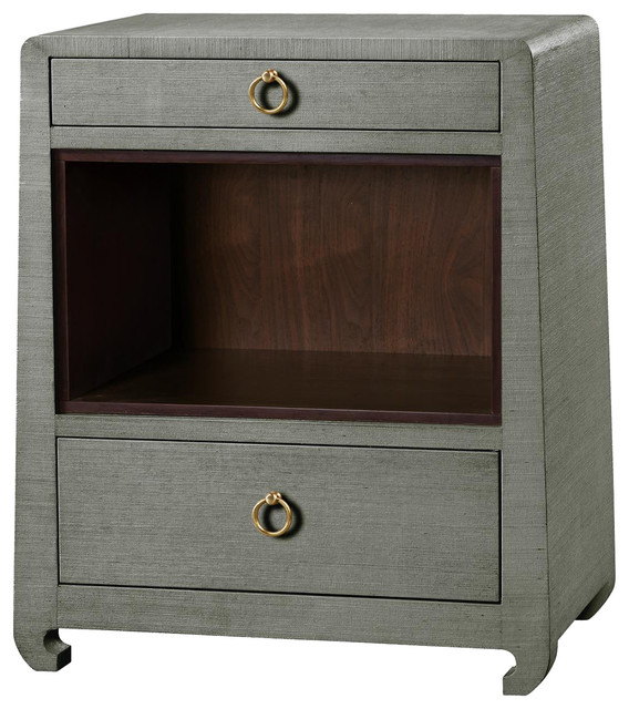 Modern Nightstands galen modern classic gold green gray grass cloth nightstand