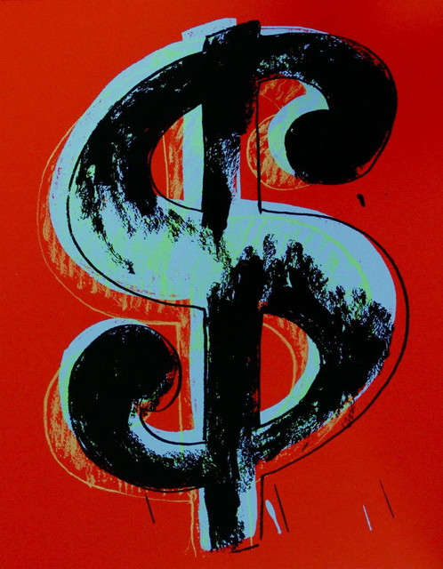 Dollar Sign Red Sunday B Morning Limited Edition Silk Screen Andy Warhol Contemporary Fine Art Prints By Commerce