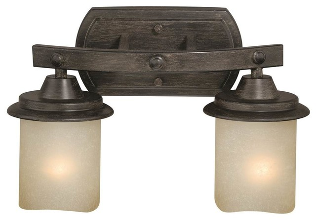 2- Light Vanity in Black Walnut Finish - Industrial - Bathroom Vanity Lighting - by ShopLadder