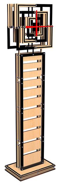 Modern Geometric Square Floor Clock - Wood Slot - Eclectic ...