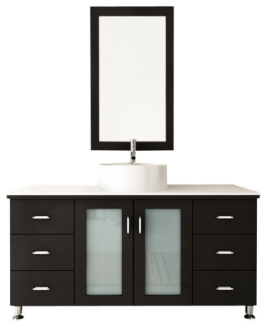 "Bathroom Vanity With Bowl Sink 47"" grand lune large single vessel sink modern bathroom vanity"
