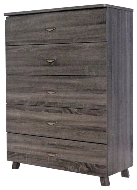 Capacious Gray Finish Chest With 5-Drawer On Metal Glides.