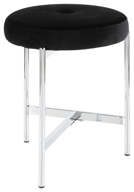 Strange Lumisource Chloe Vanity Stool Chrome And Black Velvet Bralicious Painted Fabric Chair Ideas Braliciousco
