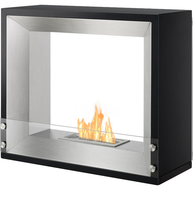 Mecca freestanding ventless ethanol fireplace ul cul for Contemporary ventless fireplace