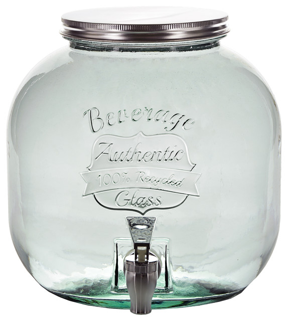 Large Authentic Recycled Glass Jar With Spigot, 202.9oz
