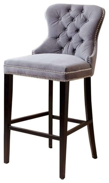 Abbyson Living Versailles Tufted Barstool Gray Bar