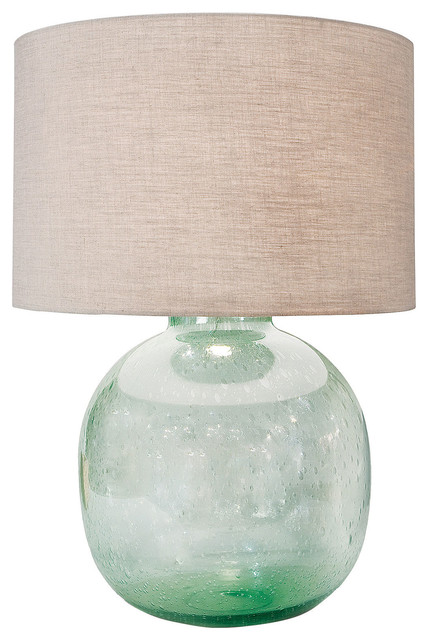 Amalfi Coastal Beach Green Seeded Glass Lamp   Table Lamps