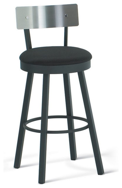 Amisco Lauren Swivel Stool with Stainless Steel Backrest 40493 transitional- bar-stools-and