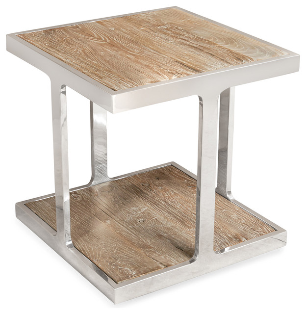 Zanuso Industrial Reclaimed Elm Stainless Steel Square Side Table.