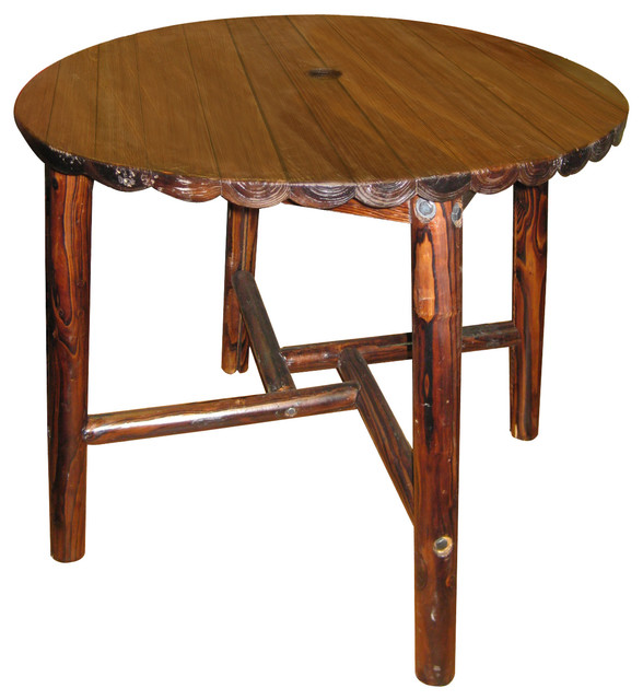 Char Log Round Table Rustic Outdoor Dining Tables