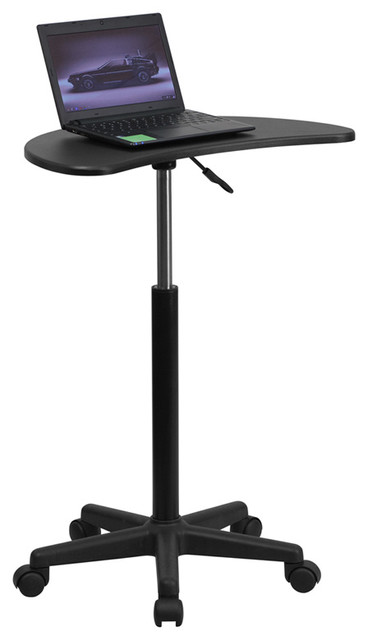 Height Adjustable Mobile Laptop Computer Desk With Black Top.