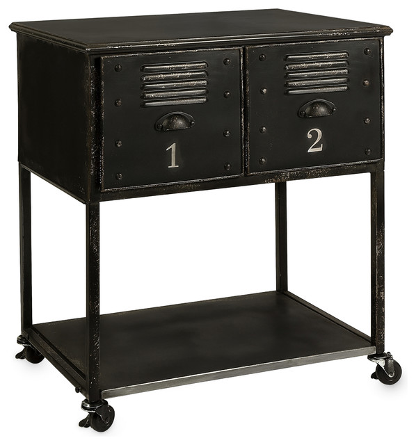 Beautiful Alastor 2 Drawer Rolling Cart Table Industrial Side Tables And End