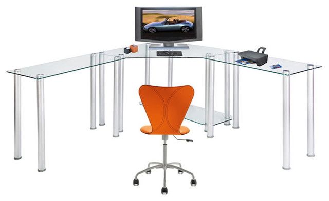 Tempered Glass Corner Computer Desk With No Shelves And Dual Extension  Tabless,
