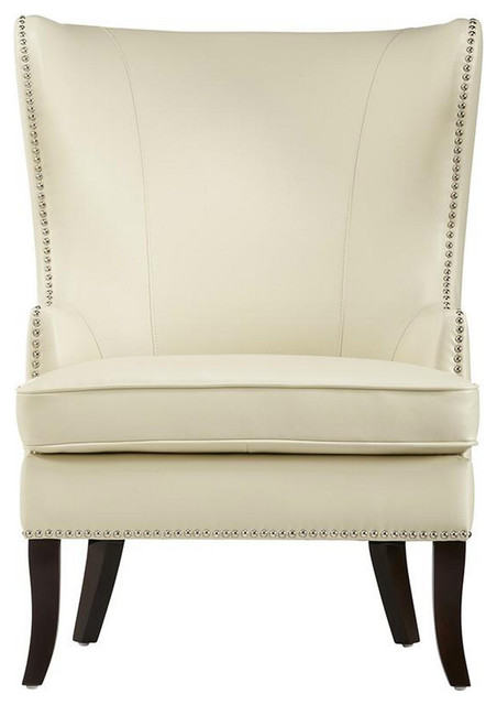 Leather Wing Chair With Nailhead, Ivory.