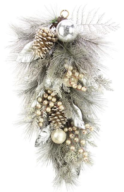 Teardrop Swag With Pine Cones Ornaments And Berries