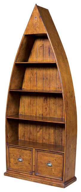 Dinghy Boat Book Shelf African Dusk Finish Rustic Bookcases