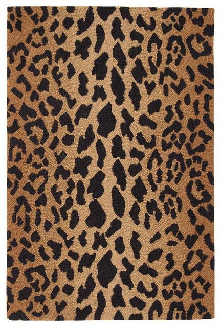 Panthera Leopard Print Wool Rug, 2&x27;x3&x27;.