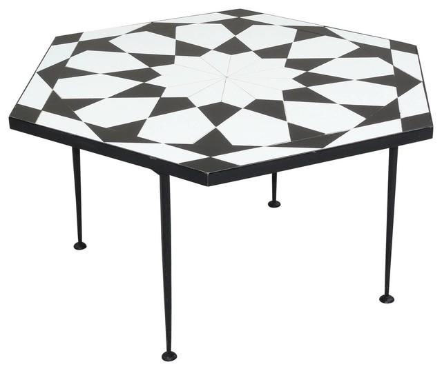 Italian Mosaic Tile Top Op Art Coffee Table Coffee Tables